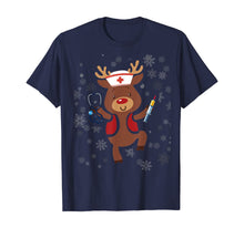 Load image into Gallery viewer, Medical Scrub Top Reindeer Nurse With Stethoscope Christmas T-Shirt