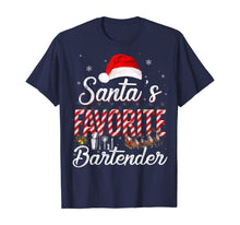 Load image into Gallery viewer, Santa's Favorite Bartender Santa Christmas Hat In Snow T-Shirt