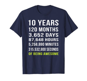 10th Birthday Gift T Shirt 10 Years Old Being Awesome Tee
