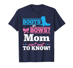 Boots or Bows Shirt for Mom Gender Reveal Party Gift
