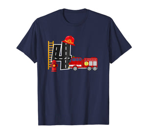 Boy's 4 Year Old Fire Truck Birthday Tee