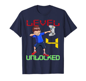 Level 4 Unlocked-4th Birthday Boy Dabbing Shirt Video Gamer