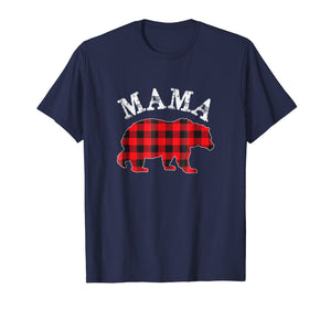 Red Plaid Mama Bear Matching Buffalo Pajama Shirt