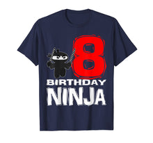 Load image into Gallery viewer, Ninja 8th Birthday T Shirt for 8 Year Old Child Boy Girl