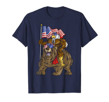 Load image into Gallery viewer, Proud American Bald Eagle On Bear 4th Of July With Flag T-Shirt
