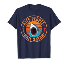 Load image into Gallery viewer, Retro Vintage Bite People Hail Satan Angry Shark Tshirt Gift