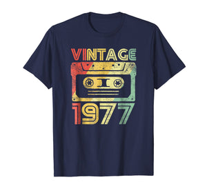 Vintage 1977 Birthday Cassette 70s Party Wear Gift Tee