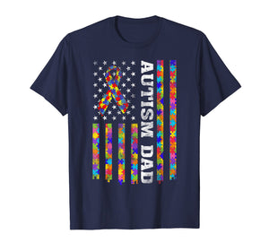 Autism Awareness Proud Autism Dad Vintage US Flag T-Shirt