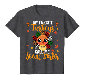 My Favorite Turkey Call Me Social Worker Leopard Plaid Gifts T-Shirt