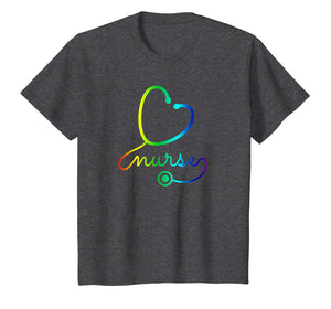Nurse Stethoscope I Love Nurses Rainbow T-Shirt