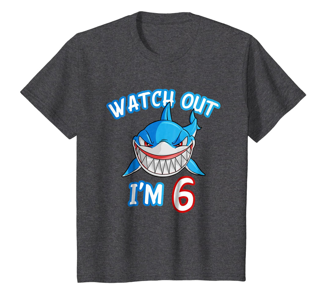 Kids 6 Yrs old Boy Watch Out Shark SHIRT 6th Birthday Tee