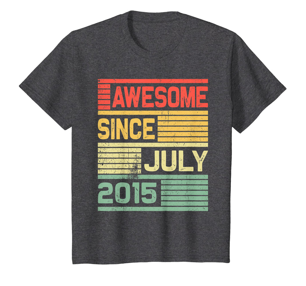 Awesome Since July 2015 Shirt Vintage 4th Birthday Gift Kid