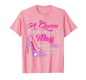 A Queen Was Born In May Shirt Happy Birthday Taurus Gemini T-Shirt