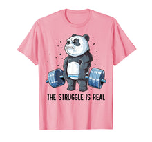 Load image into Gallery viewer, Panda T Shirt The Struggle Is Real Weightlifting Fitness Gym