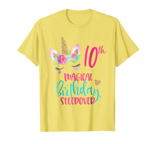 Unicorn 10th Magical Birthday Sleepover Party Shirt Girl Tee