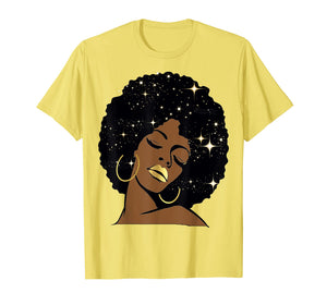 Lips Stars Black Girl Magic Afro Diva T-Shirt Melanin