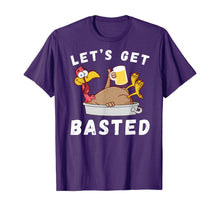 Load image into Gallery viewer, Let's Get Basted Beer Drinking Turkey Funny Thanksgiving T-Shirt