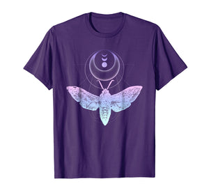 Moth And Crescent Moon T-Shirt, Witchy Pastel Goth Shirt