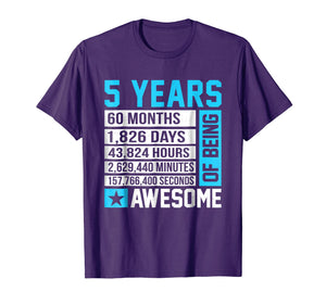 5th Birthday Shirt 5 Years of Being Awesome