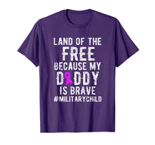 Load image into Gallery viewer, Military Child Month Purple Up Free Brave Dad T Shirt