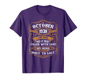 81st Birthday Gift 81 Years Old Retro Vintage October 1938 T-Shirt