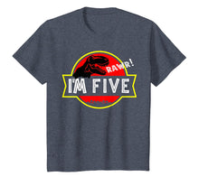 Load image into Gallery viewer, 5th birthday Dinosaur T-rex Shirt 5 year old Birthday Party