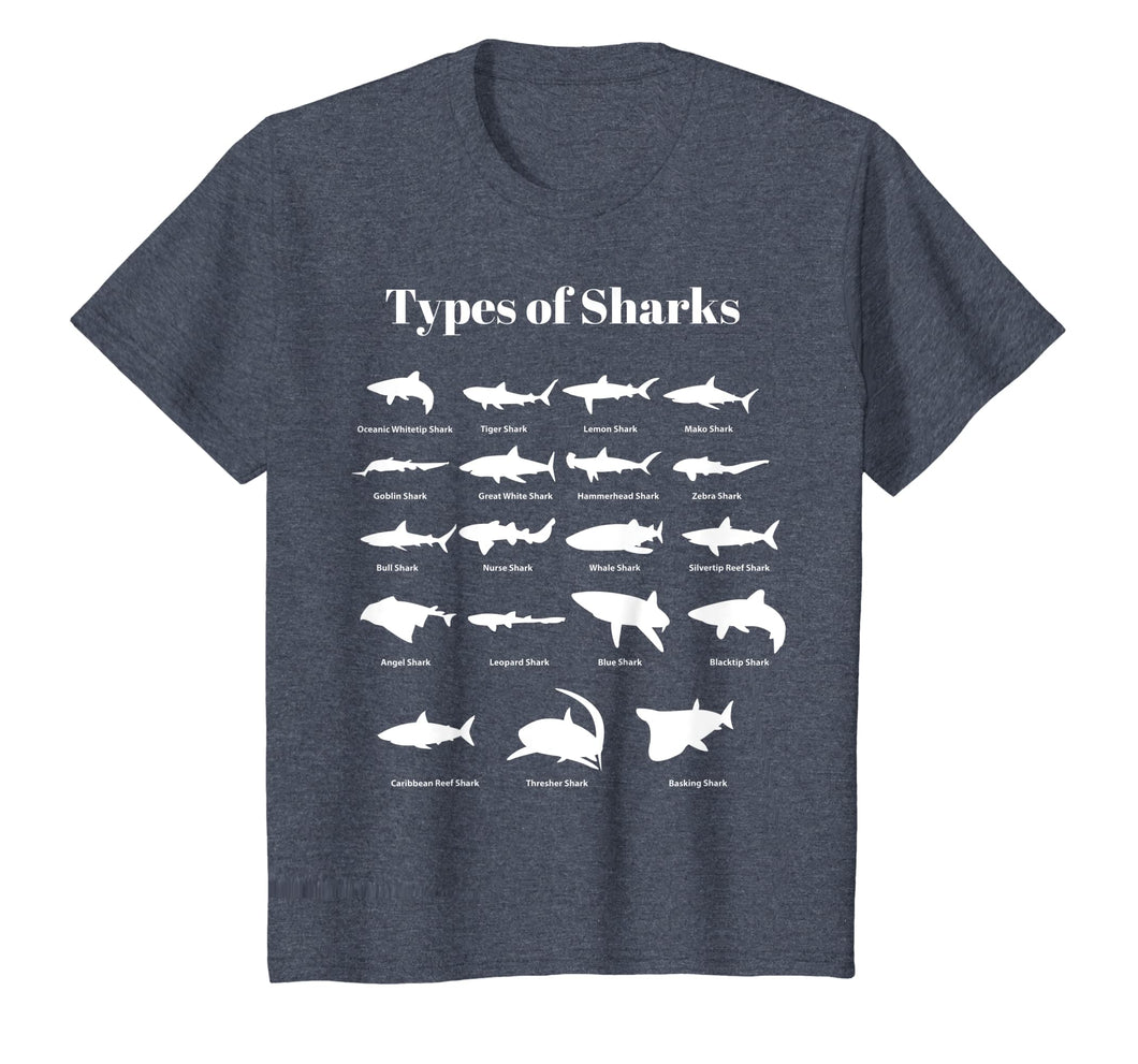 Kids Types Of Sharks T-Shirt Shark Tee For Boys & Girls