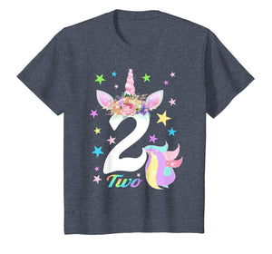 Kids Number 2 (Two) Unicorn 2nd Birthday Shirt for 2 Year Old