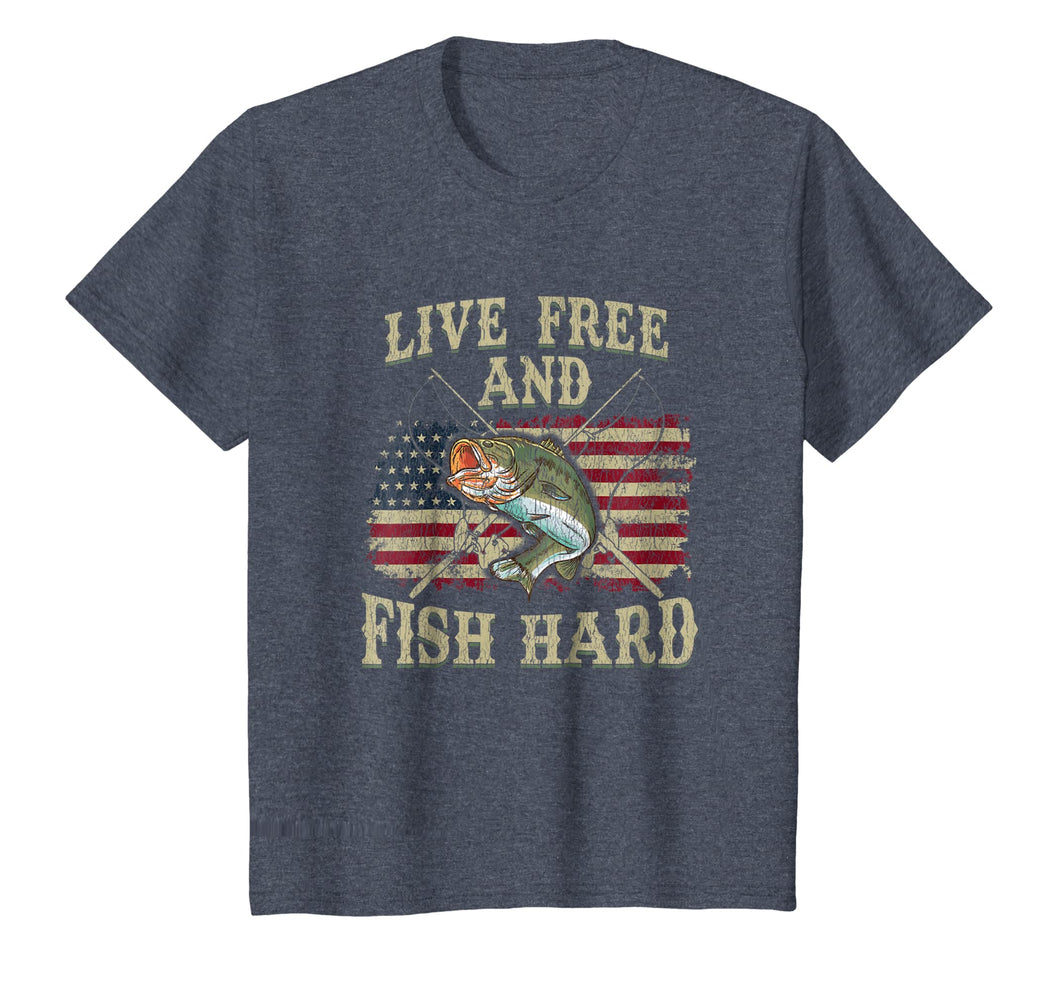 Live Free and Fish Hard Patriotic Fishing USA T-Shirt