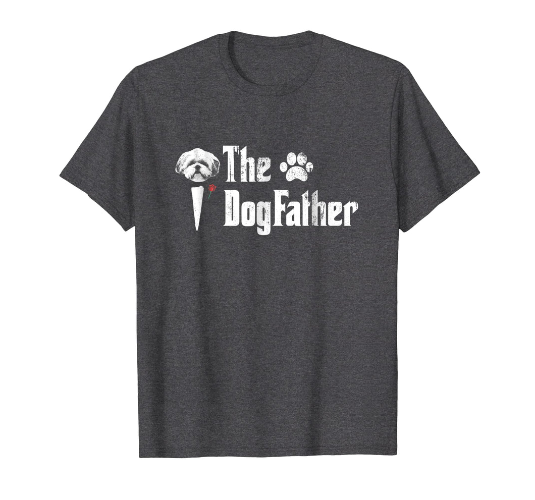 Mens The Dogfather Shih Tzu Dog Dad Tshirt Father's Day Gift