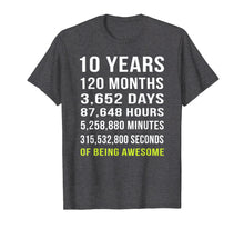 Load image into Gallery viewer, 10th Birthday Gift T Shirt 10 Years Old Being Awesome Tee
