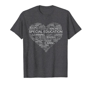 Special Education Teacher Word Heart T-Shirt Funny