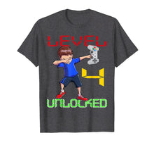 Load image into Gallery viewer, Level 4 Unlocked-4th Birthday Boy Dabbing Shirt Video Gamer