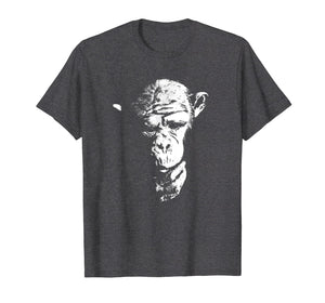 Chimpanzee T Shirt Thinking Monkey, Ape, Cool Chimp Tee