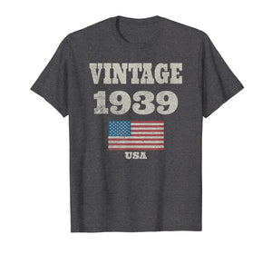 80th Birthday Gift Vintage USA Flag 1939 T-shirt Design