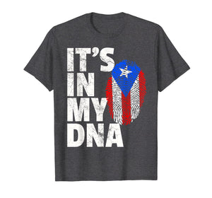 IT'S IN MY DNA Puerto Rico Rican Flag Shirt Mom Dad Boy Gift