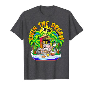 Living the Dream T Shirt Beach Parrot Sun Palm Trees