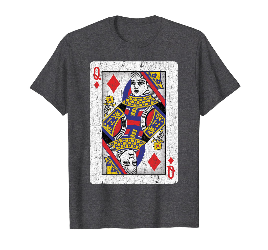 Queen of Diamonds Poker Lover Gifts Playing Card T-Shirt
