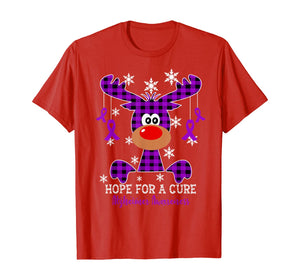 Reindeer Hope For A Cure Alzheimer Awareness Christmas T-Shirt