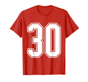 #30 White Outline Number 30 Sports Fan Jersey Style T-Shirt