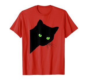 Black Cat shirt funny peaking black cat shirt