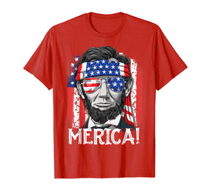 4th of July Shirts for Men Merica Abe Lincoln Women Tee Gift
