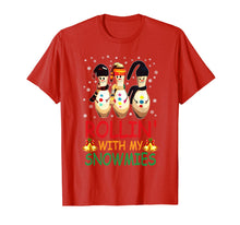 Load image into Gallery viewer, Rollin With My Snowmies Snow Bowling Christmas T-Shirt