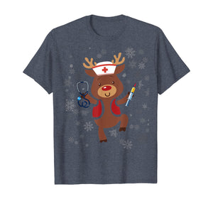 Medical Scrub Top Reindeer Nurse With Stethoscope Christmas T-Shirt