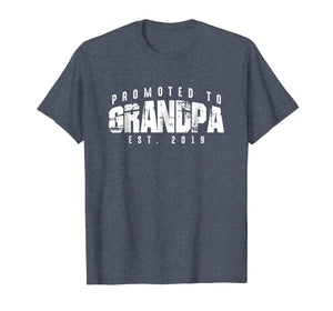 Mens Promoted to Grandpa Est 2019 T-Shirt - New Grandfather Gift