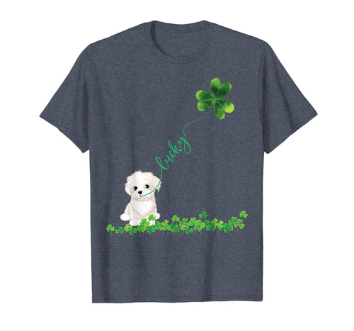 Lucky Maltese Dog Shamrock St Patrick day Tshirt for Women