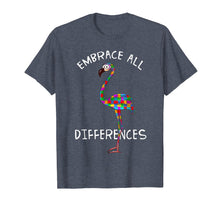 Load image into Gallery viewer, Embrace Differences Puzzle Flamingo Autism Awareness Tshirt