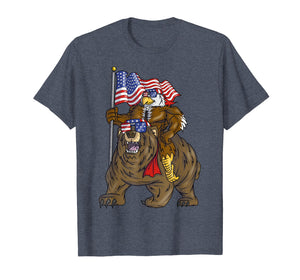 Proud American Bald Eagle On Bear 4th Of July With Flag T-Shirt