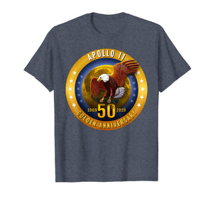 Apollo 11 Golden 50th Anniversary Eagle and Moon T Shirt Tee