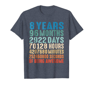 8 Years Old 8th Birthday Vintage Retro T Shirt 96 Months